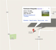 Fairhaven Vineyards Map and Directions